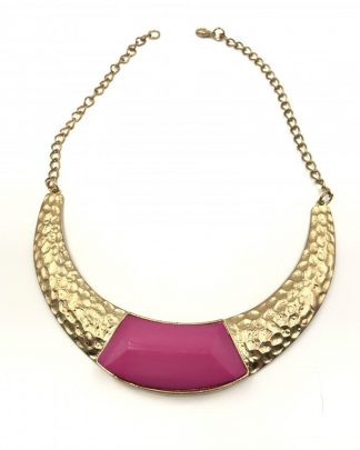 Pendant Choker Chunky Bib Pink Statement Gold Tone Necklace