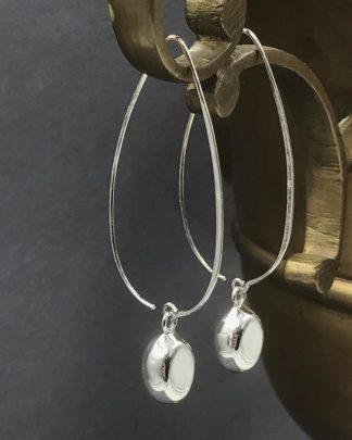 Sterling Silver Polished Threader Fancy Dangle Charm Hook Earrings