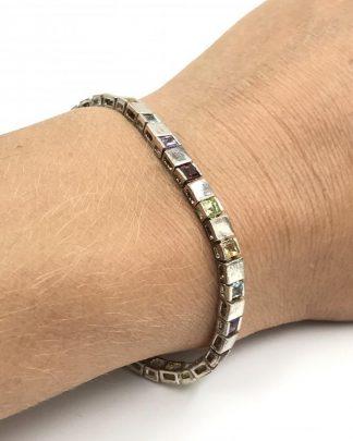 DBJ 925 Sterling Silver 4mm Tennis Bracelet Multi Variety Stones