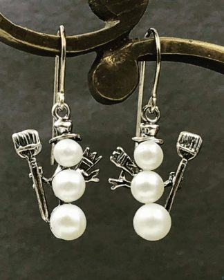 Christmas Sterling Silver Triple Pearl Snowman Earrings, Hat Scarf Shovel