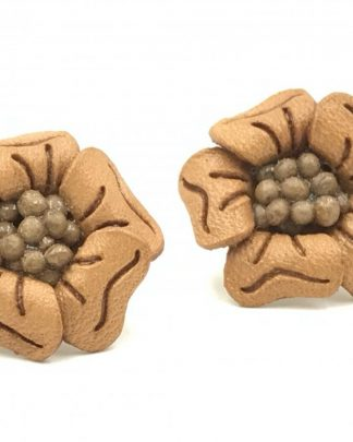 Vintage Tooled Leather Flower Post Earrings