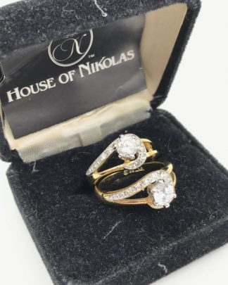 HOUSE of NIKOLAS 18K GE Yellow Gold Simulated Diamond Ring