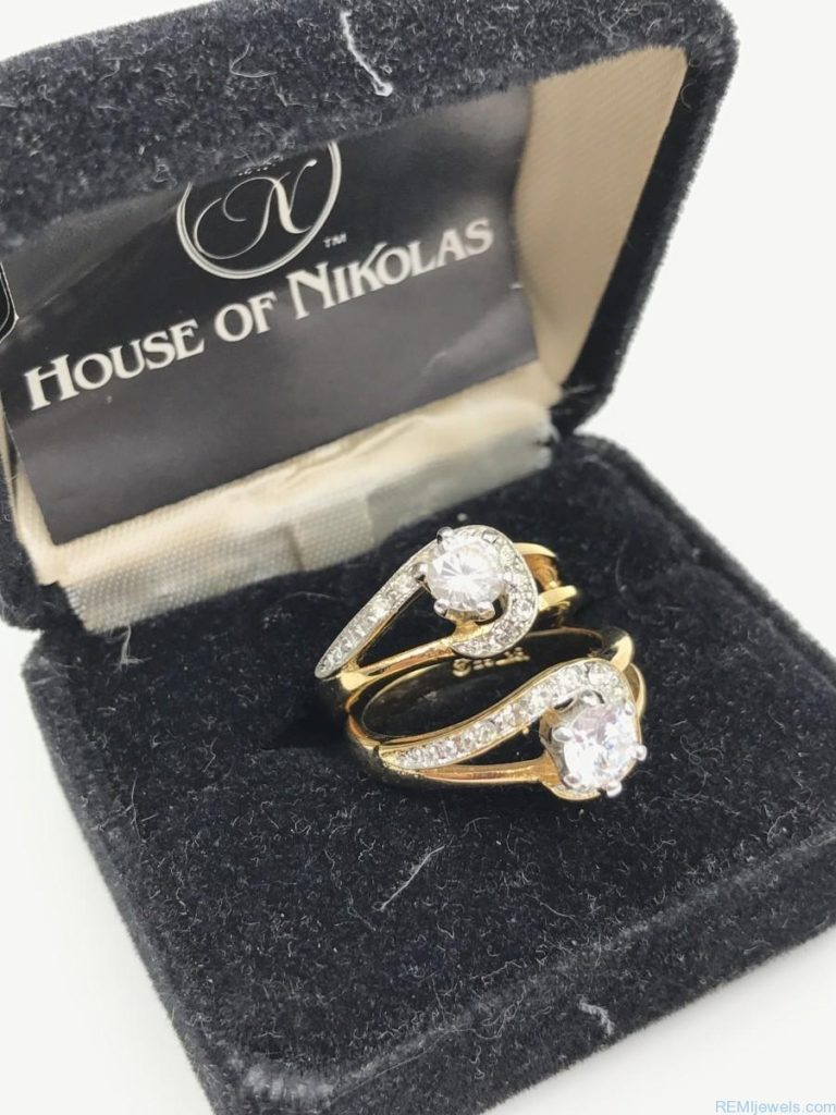 House Of Nikolas 18k Ge Yellow Gold Simulated Diamond Rings