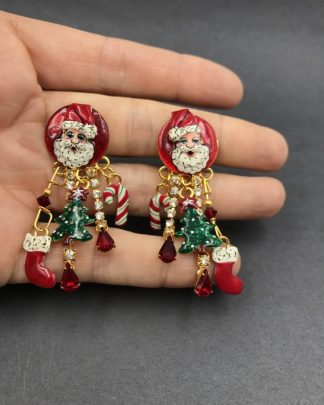 Lunch At The Ritz EARRINGS Santa Christmas Holiday Clip-on Dangle