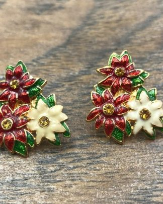 Christopher Radko Poinsettia Flower Red White Green Christmas Earrings