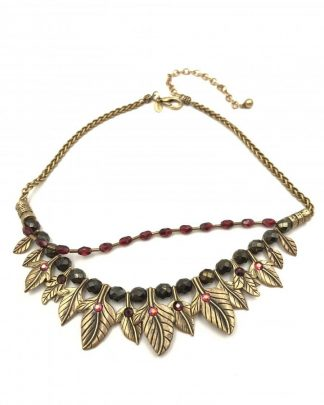 CHICO'S Leaf Necklace Brass Tone Leaves Beads Red Rhinestones