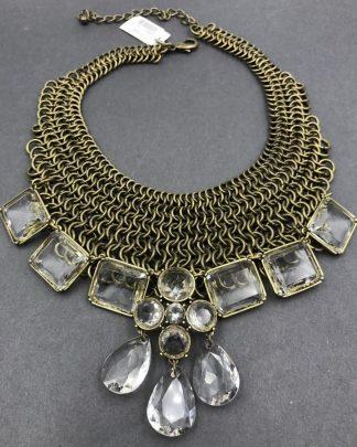 CHICO's Ornate Mesh Multi Chain Link Enormous Rhinestones Necklace