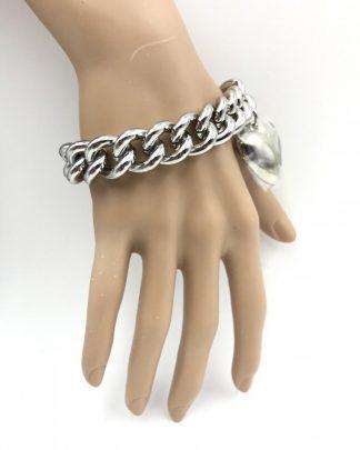 CHICO'S Heavy Link Chain Charm Bracelet Large Heart Charm