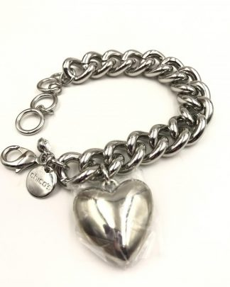 CHICO'S Heavy Link Chain Charm Bracelet Large Heart Charm