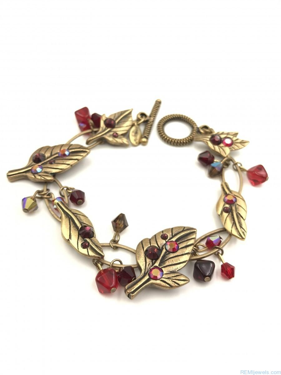 Chico S Bracelet Leaves Berries Brass Tone Red Rhinestones