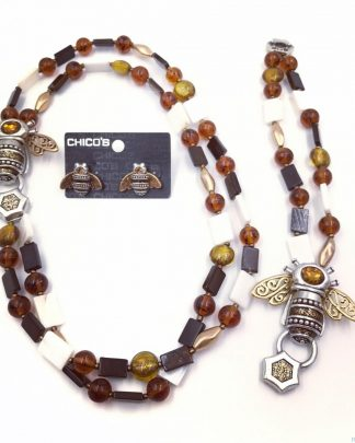 CHICO'S 2 Strand Topaz Amber Bead Bumble Bee Jewelry Set