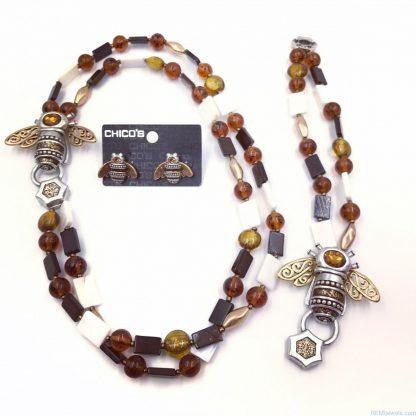 CHICO'S 2 Strand Topaz Amber Bead Bumble Bee Jewelry Set