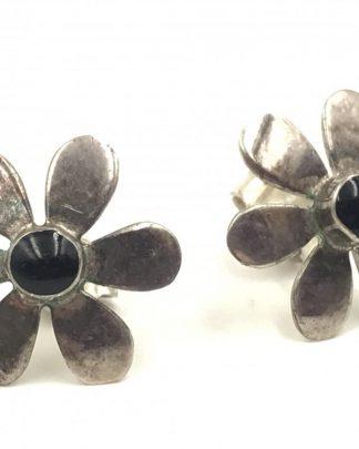 Sterling Silver Daisy Flower Black Stone Post Stud Earrings