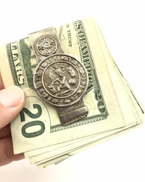 Vintage Silver Tone Money Clip Mexico Signed