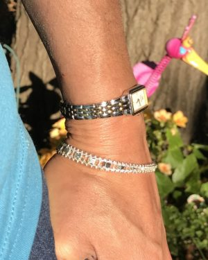 Premex Sterling Silver Bracelet Graduated V Unique Textured Design, 7.5″ Solid Sterling Silver 925, 11g