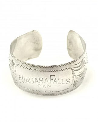 Vintage Sterling Silver Niagara Falls Hand Engraved Cuff Bracelet
