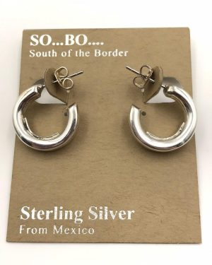 So Bo Designer Sterling Silver Open Circle Hollow Hoop Earrings – South of the Border – 925 – Mexico