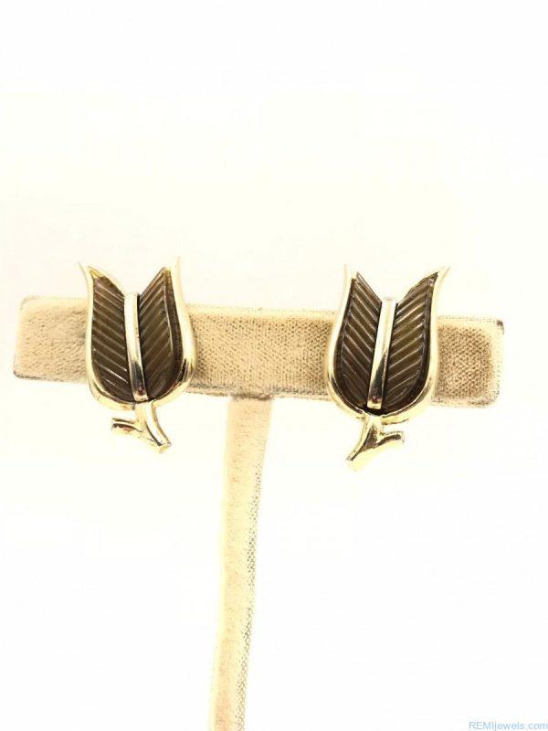 Vintage Trifari Demi Parure Brown Thermoset Chevron Tulips Jewelry Set