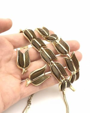 Vintage Trifari Demi Parure Brown Thermoset Chevron Tulips Jewelry Set 1960's – Necklace, Bracelet, Clip Earrings