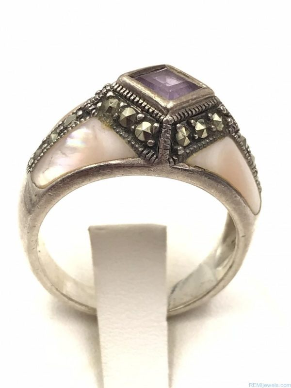 Sterling Silver Mother Pearl Purple Spinel Hematite Gemstone Ring