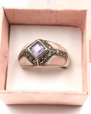 Stunning Sterling Silver Mother Pearl Purple Marcasite Gemstone Ring Size 9 – Signed A 925 Thailand