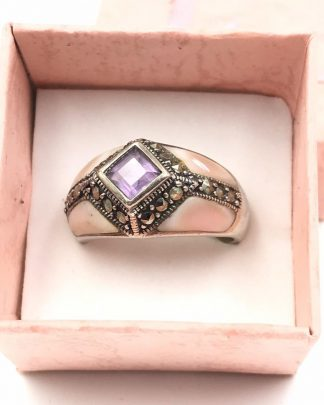 Stunning Sterling Silver Mother Pearl Purple Marcasite Gemstone Ring
