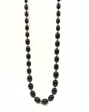 Vintage Monet Black Faceted Lucite Graduated Oval Beads Necklace (28 IN) on Gold Tone Chain, Signed Monet