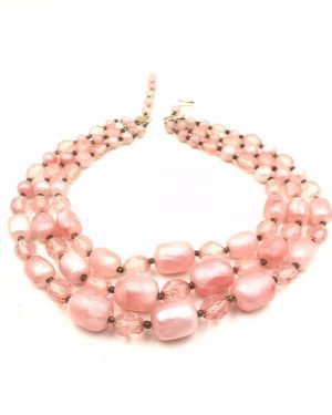 Lovely Vintage Graduated Lucite Chunky Pink Bead Triple Strands Necklace, West Germany Beaded Beads Necklace