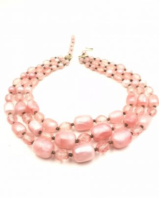 Vintage Graduated Lucite Chunky Pink Bead Triple Strands Necklace