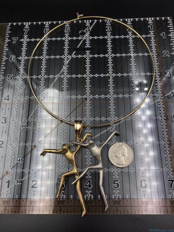 Unique Dancing People Choker Chunky Statement Bib Pendant Necklace