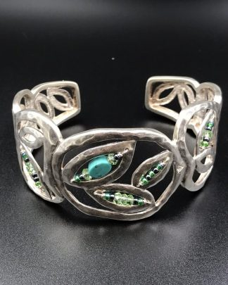 Silpada Hammered Sterling Silver Wide Cuff Bracelet Turquoise Hematite Beads
