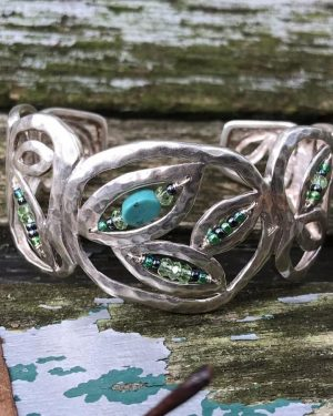 Silpada Hammered Sterling Silver Wide Cuff Bracelet Turquoise Hematite Beads 925