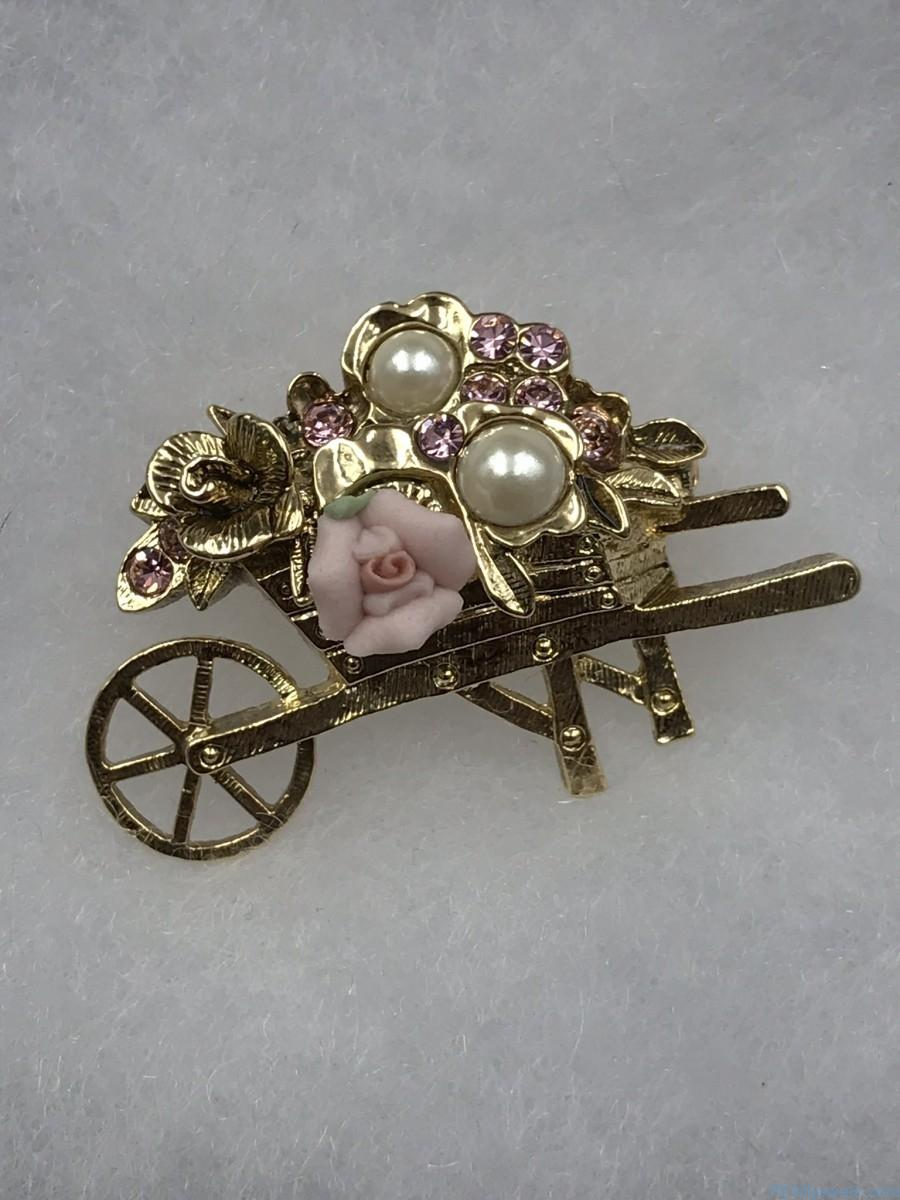 Vintage 1928 Jewelry Genuine Porcelain Rose Wheelbarrow