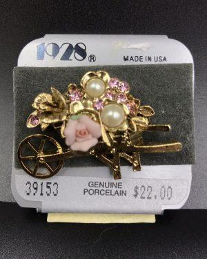 Vintage 1928 Jewelry Genuine Porcelain Rose Wheelbarrow Brooch Pin Pearls Rhinestones Pink – Set 39153