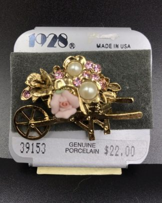 Vintage 1928 Jewelry Genuine Porcelain Rose Wheelbarrow Brooch Pin