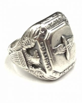 Authentic WWII USA US Army Air Pilot Wings Sterling Ring