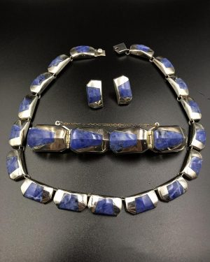 Gorgeous Vintage Taxco Sterling Silver Inlaid Sodalite Mexico Jewelry Set – Necklace 16″, Bracelet, Earrings – Heavy