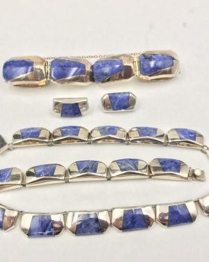 Gorgeous Vintage Taxco Sterling Silver Inlaid Sodalite Mexico Jewelry Set