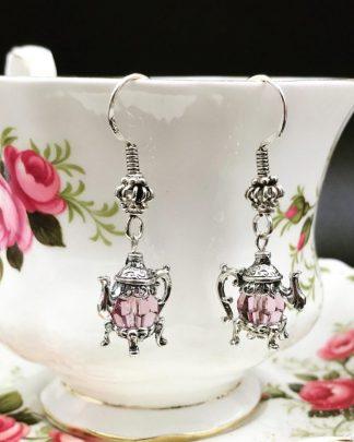 Sterling Silver Teapot Earrings Swarovski Light Purple Faceted Bead