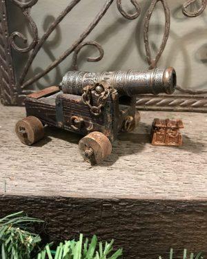 Antique Vintage REAL MARINA ESPANOLA SIGLO XVIII Wood Brass Cannon