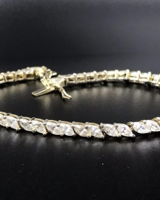 Sparkly Sterling Silver 925 Wedding Gift Marquise CZ Tennis Bracelet