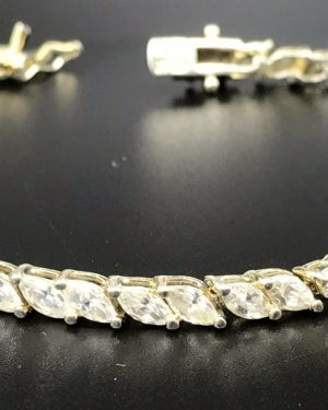 Sparkly Sterling Silver 925 Wedding Gift Marquise CZ Tennis Bracelet 7″ Cubic Zirconia – Gold Over Silver