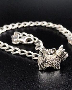 Sterling Silver Scottish Terrier Charm Pet Dog Bracelet 6.5″- Signed 925 Italy SU