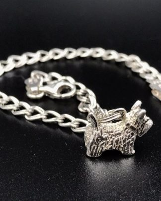 Sterling Silver Scottish Terrier Charm Pet Dog Bracelet 6.5""