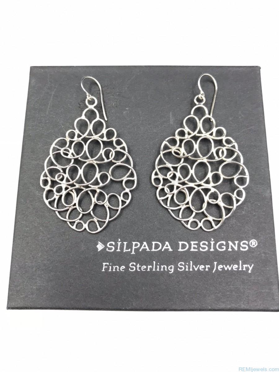 d331aa97c Silpada Sterling Silver Woven Mesh Teardrop Chain Link Earrings W2157