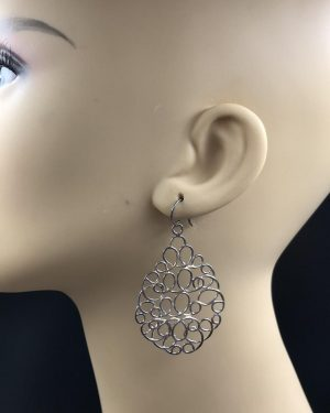 Silpada Sterling Silver Woven Mesh Teardrop Chain Link Earrings W2157