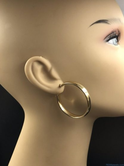 14K Yellow Gold Hoop Punk Earrings Vintage Plain Flat Polished Design
