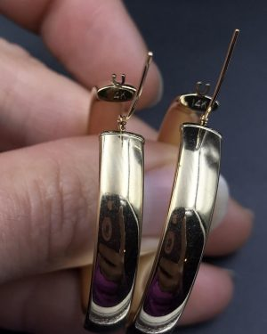 14K Yellow Gold Hoop Punk Earrings Vintage Plain Flat Polished Design 35 mm 4.8g