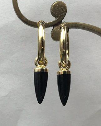 14K Yellow Gold Hoop Black Spike Drop Earrings Vintage Tubular Polished