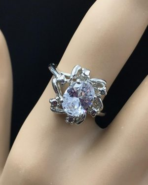 Stainless Steel Silver Tone Oval Glass Cut Flower Design Ring Size 6